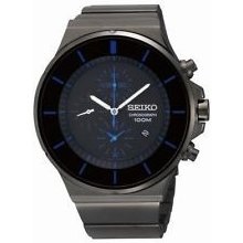 Seiko Sndd59 Chronograph Black Ion Plated Blue Accents Mens Watch