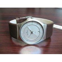 Skagen 233XXLSL Men's Brown Leather Watch -