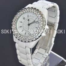 Soki Dress White Luxury Crystal Analog Quartz Womens Ladies Band Watch X89