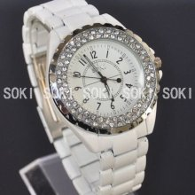 Soki Luxury White Analog Quartz Ladies Womens Band Crystal Xmas Watch S083