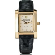 US Naval Institute Women's Gold Quad Watch w/ Leather Strap