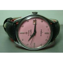 Vintage Titoni Airmaster Rotomatic Auto Date Swiss Old Used Watch Pink Dial F659