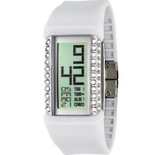 $135 Women's Philippe Starck Crystal Glitz White Multi-function Watch Ph1115