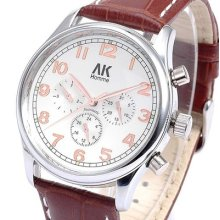 Ak-homme Mens Day Date Rose Gold Leather Band Automatic Mechanical Watch Ak055