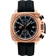 Andrew Marc Men's Heritage Cargo Rose Gold Case With Black Strap C...