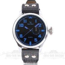 Army Pilot Jp Quartz Analog Pu Leather Band Sub Dial Decoration Mens Wrist Watch