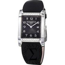 Baume & Mercier Womens Hampton Diamond Dial Black Satin Strap Watch 10024
