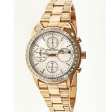Big Cat Ladies Watch with Rose Gold Metal Band and Crystal Bezel ...