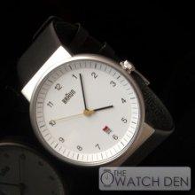 Braun - Mens Black Strap White Dial Quartz Watch - Bn0032whbkg