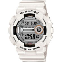 Casio G-shock Digital Watch Xl Super Led Lap Memory 60 White Dual Time Gd110-7