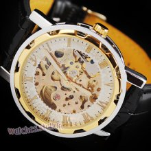 Classic Mens Gold Skeleton Mechanical Automatic Watch Light Hands Leather Black
