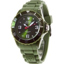 Detomaso Colorato 44Mm Large Unisex Quartz Watch With Green Dial Analogue Display And Green Silicone Strap Dt2012-F