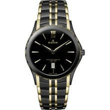 EDOX Watches Edox Women's Black Dial Black Two Tone Stainless Steel T