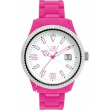 Ltd Watch Unisex Limited Edition Plastic Ex Range Watch Ltd 091002 With Shocking Pink Bracelet & White Dial With A Stainless Steel Bezel