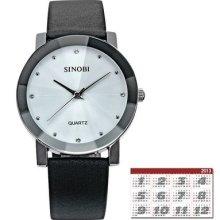 Sinobi Elegant White Dial Crystal Quartz Analog Mens Leather Band Wrist Watch