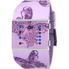 01 The One Womens Slim Square Blue LED Stainless Watch - Purple Rubber Strap - Purple Dial - SLSL140B3