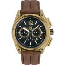 Andrew Marc Watches Round Leather Strap Watch Gold/ Brown