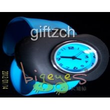 Black Apple Children Kids Silicon Slap Wristband Sport Birthday Holiday Watch