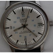 Camy Geneve Swiss Made Rare Vintage Stainless Steel Mechanical Date Watch