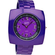 Eton Ladies Square Case Purple Bangle Watch 2870-6