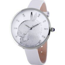Fashion Ladies Women Watch Big Crystal Dial Thin Leather Band Quartz 91002