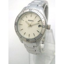 Fossil Ladies Watch Aluminum Bracelet And Case Es2901 Date Display