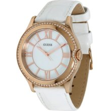 Guess U11679L1 White Leather Band Women's Watch High Status Shine