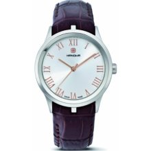 Hanowa Timeless Women's Quartz Watch With Silver Dial Analogue Display And Brown Leather Strap 16-6000.04.001.20