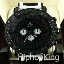 Iced Out Hip Hop Watch Round Analog Dial Stainless Steel Back Cee Lo Style