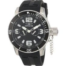 Invicta Mens Specialty Day & Date Black Dial Stainless Steel Case Silicone Watch