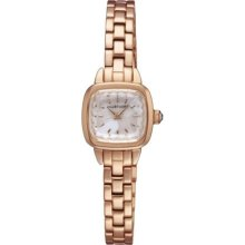 Jill Stuart Womens Square Ring Analog Stainless Watch - Rose Gold Bracelet - White Dial - JILSILDV001