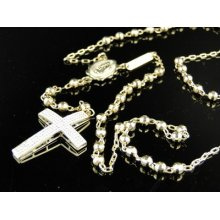 Mens 10k Yellow Gold Rosary Genuine Diamond Necklace Chain