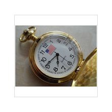 Men's Vintage Yellow Gold Tone 24 Hr American Pride Quartz Pocket Watch 52.1 Gr.