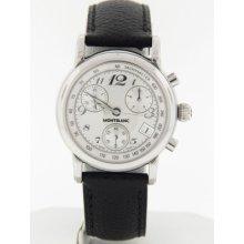 Mont Blanc Women's Pl6869146 Silver Chronograph Dial Black Leather Strap Watch