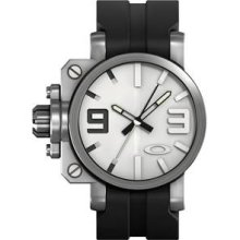 Oakley Mens Gearbox Strap Edition Analog Stainless Watch - Black Rubber Strap - White Dial - 10-064