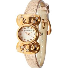 Ribbon Ladies Watch with Rose Gold Leather Band ...