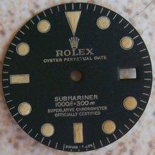 Rolex Submariner Wristwatch Dial Refinished 27 Mm. In Diameter
