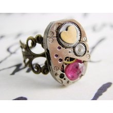 Steampunk Heart Ring with Vintage Watch Movement and Genuine Ruby
