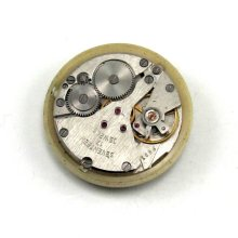 Steampunk Vintage Round Pocket Watch Movement with Original Gold Toned Face and 17 Ruby Jewels - 25mm