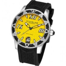 Stuhrling Original 225G.331618 Mens Round Watch on a Stainless Steel Case and Black Rubber Strap Yellow Dial and Black Bezel