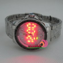 Weide Quartz S/steel Digital Led Analog Dual Time Waterproof Stopwatch Men Watch