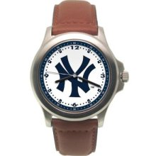 York Yankees Mens Leather Rookie Watch