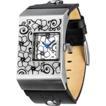 01 The ONE Mens Floral Pattern Stainless Analog Watch - White Dial - Black Leather Strap - AN02M03