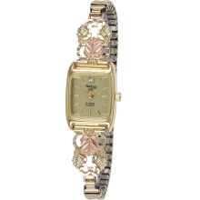 10k Gold Elegant Ladies Watch with Diamond Cut Vines