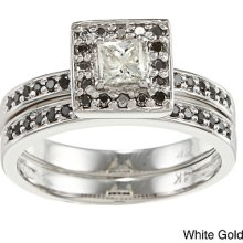14k Gold 2/3ct Tdw Princess Black And White Diamond Bridal Ring Set (h-i, I1-i2)