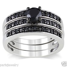 2 Carat Genuine Black Diamond Ring 3 Band Set In Sterling Silver ( H-i, I2- I3 )