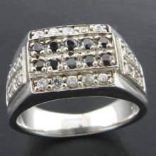 7+gms Black White Cz 925 Sterling Silver Ring Sz8