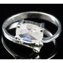925 Sterling Silver White Topaz Cz Ring Sr254 Size 6
