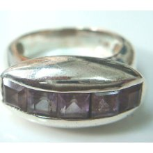 Aj Ehs 925 Sterling Silver Genuine Amethyst Beautiful Ring Size 7