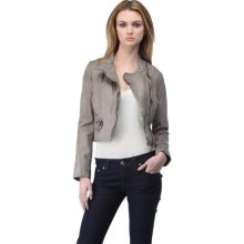 Andrew Marc Ladies Stone Gisselle Lamb Skin Motorcycle Jacket